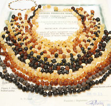 100% Genuine Raw Baltic Amber Baby Child Necklace Baroque Beads Many Colors
