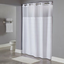 """New Hookless Waffle Fabric Shower Curtain Snap-in liner 71""""x74"""" Multi Variations"""