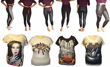 New Full Ankle Length Woman Cotton Leggings T Shirt Stretchy Lady Novelty lot