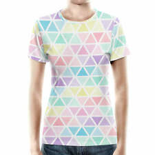 Pastel Triangles Women Cotton Blend T-Shirt All-Over-Print