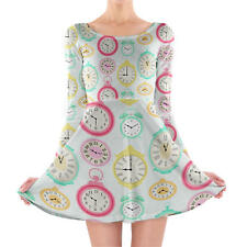 Vintage Clocks Longsleeve Skater Dress XS-3XL All-Over-Print