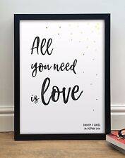 """The Beatles """"All You Need Is Love"""" Personalizzato Poster Stampa Contemporaneo"""