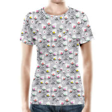 Subtle Flowers on Grey Women Cotton Blend T-Shirt All-Over-Print