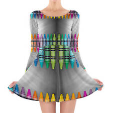 Rainbow Crayons Longsleeve Skater Dress XS-3XL All-Over-Print
