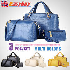 3pcs/Set Crocodile Leather Handbag Messenger Shoulder Bag Purse Women Lady Tote