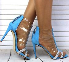 New Ladies High Stiletto Heel Transparent Straps Zip Up Womens Sandals Shoes 3-8