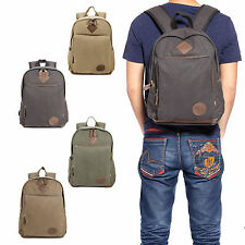"Mens Vintage Canvas Backpack College Leather Camping Satchel 16"" Laptop Bag"