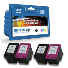 4 HP REMANUFACTURADO OFFICEJET Alta Capacidad Cartuchos de Tinta HP901 2