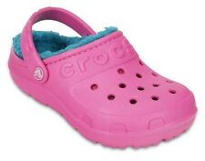 Girls Crocs Hilo Lined Clog Pink Blue Relaxed Fit Sandals