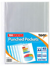 A4 Clear Plastic Poly Punched Pockets Strong Filing Wallets Sleeves