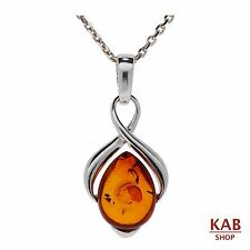 COGNAC BALTIC AMBER STERLING SILVER 925 BEAUTY PENDANT small+chain. KAB-148s