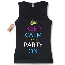 Donna Canotta - KEEP CALM AND PARTITO ON - maglietta divertente nero S–L XL
