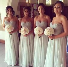 New Simple Long Bridesmaid Evening Dresses Prom Ball Gowns Formal Wedding Dress