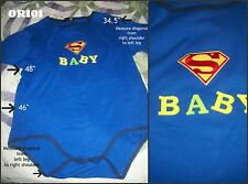 """New Adult Baby Romper Onesie Blue """" SUPER BABY """" sz large anonymous list"""