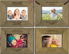 PERSONALISED RUSTIC OAK Landscape MOTHERS DAY Photo Frame Gifts for Mum Mummy On