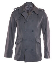 Mens Jacket Coat Grey Double Breasted Wool Blend Peacoat