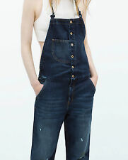 ZARA Woman Authentic BNWT Navy Blue Denim Dungarees With Suspenders S M 6688/012