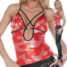 Party-Style MiSS SEXY Top rot/SILBER glanzsexy Dekoltee Party Clubwear Bar S-M-L