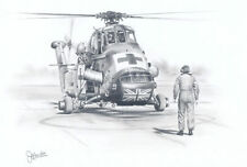 Westland Wessex Helicopter RAF Painting Drawing Aviation Art Print