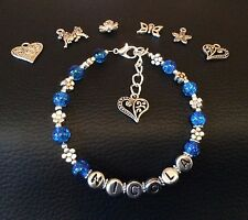 Handmade Personalised Name Blue Crackle Beaded Bracelet with choice of charm