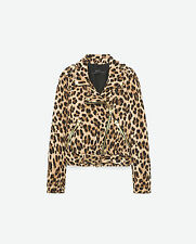 NEW ZARA SIZE XS LADIES ANIMAL PRINT BIKER JACKET EXCELLENT CONDITION SOLD OUT
