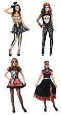 Ladies Day of the Dead Halloween Skeleton Fancy Dress Costumes