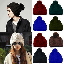 Fad New Fashion Winter Warm Women Men Knit Ski Beanie Ball Wool Cuff Hat Ski Cap
