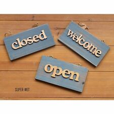 Wooden Door Sign Plaque Welcome Closed Open Bar Shop Store Vintage Shabby Blue