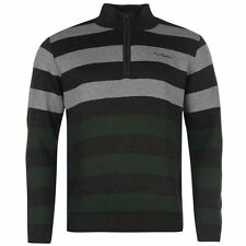 Pierre Cardin ¼ Zip Knit Jumper Mens Charcoal/Green Sweater Pullover Top