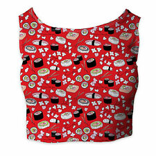 Sushi Cherry Blossom Ladies Crop Top - Sleeveless XS - 3XL