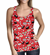 Sushi Cherry Blossom Ladies Tank Top - Sizes XS-3XL Sleeveless