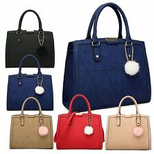 WOMENS FAUX LEATHER POMPOM TOTE BAG LARGE DESIGNER CASUAL CHIC QUALITY HANDBAG