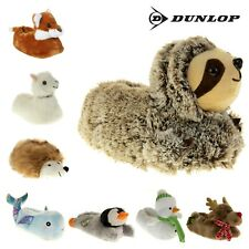 Womens DUNLOP Christmas Novelty Slippers Ladies Faux Fur Slippers Sz 3 4 5 6 7 8