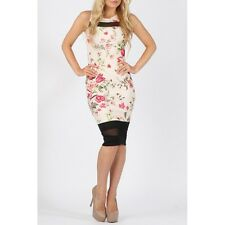 Floral Print Bodycon Dress With Mesh Insert Size 8 10 12 14