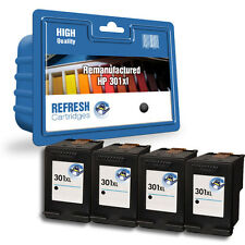 4 REMANUFACTURED HP HEWLETT PACKARD DESKJET BLACK INK CARTRIDGES HP301XL 301XL