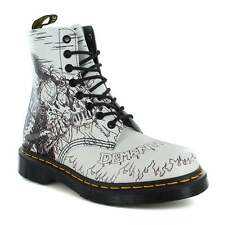 Dr Martens Pascal Demented Are Go Backhand Womens Leather Boots Black & White