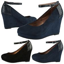 WOMENS SHOES LADIES ANKLE HIGH HEEL PLATFORM WEDGE STRAP ROUND TOE CROC SIZE NEW