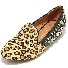 7768F mocassino nero animalier JEFFREY CAMPBELL ELEGANT DUO scarpa donna loafer