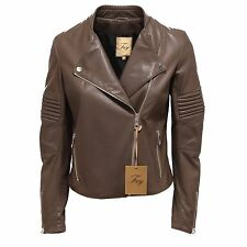 8880Q chiodo donna FAY giubbotto pelle marrone chiaro jacket women leather