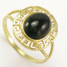 14k Yellow Gold Greek Key Black Onyx Oval Ring #R1065