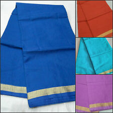 Women's Ethnic Wear Kota Doria Cotton Plain Sarees with Running Blouse