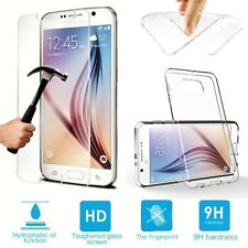 CLEAR GEL CASE & TEMPERED GLASS SCREEN PROTECTOR FOR SAMSUNG GALAXY J1 2015 J100
