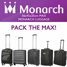 MONARCH 56x40x25 LARGE CABIN HAND CARRY LUGGAGE SUITCASE TRAVEL TROLLEY BAGS