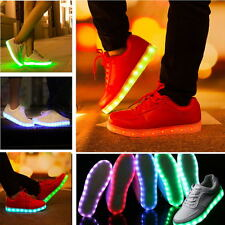 UK Uomini Donna Unisex LED Luci Scarpe Glowing Luminosi Da Ginnastica Casual