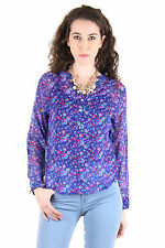CHIMERA Blue Full Sleeve Printed Polyester V-Neck Top For Women CHC1114ABLU