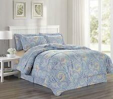Ultra Soft Microfiber 8Pc Paisley Scroll Print Bed in a Bag Queen King - Isla
