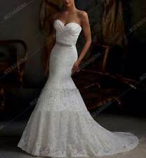 UK Mermaid Lace New Lace White/Ivory Mermaid Wedding Dress Bridal Gown FREE