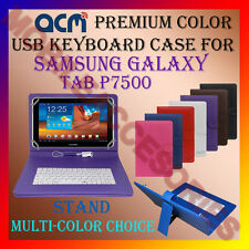 """ACM-USB COLOR KEYBOARD 10"""" CASE for SAMSUNG GALAXY TAB P7500 LEATHER COVER STAND"""