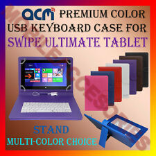 """ACM-USB COLOR KEYBOARD 10"""" CASE for SWIPE ULTIMATE TABLET LEATHER COVER STAND"""