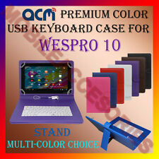 "ACM-USB COLOR KEYBOARD 10"" CASE for WESPRO 10 TABLET LEATHER COVER STAND CARRY"